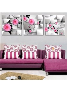 Classic Wonderful Flowers 3-Piece Crystal Film Art Wall Print