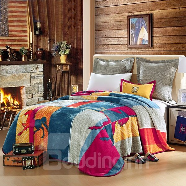Soft Geometric and Horses Printed American Style Raschel Blanket