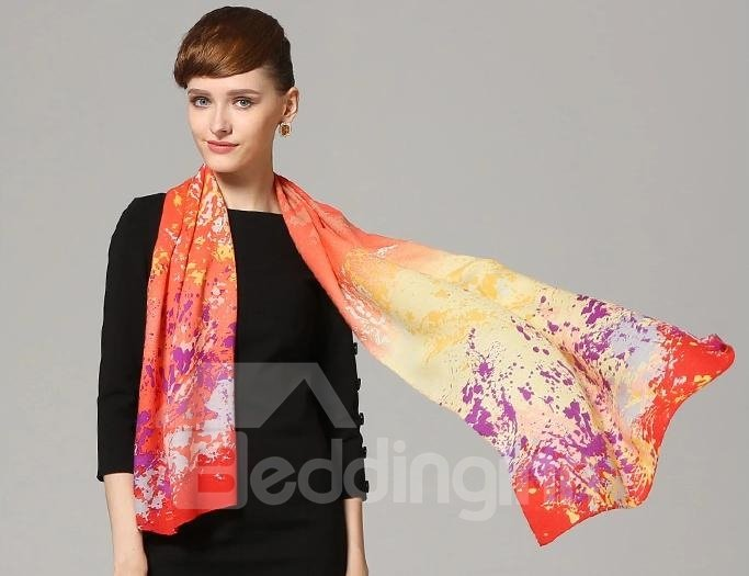 Artistic Splashes Of Ink Multi-color Wool Long Scarf