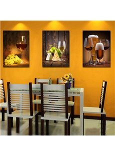 Traditional Wine Glass 3-Piece Crystal Film Art Wall Print