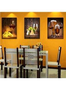 Traditional Wine Glass 3-Piece Crystal Film Art Wall Print