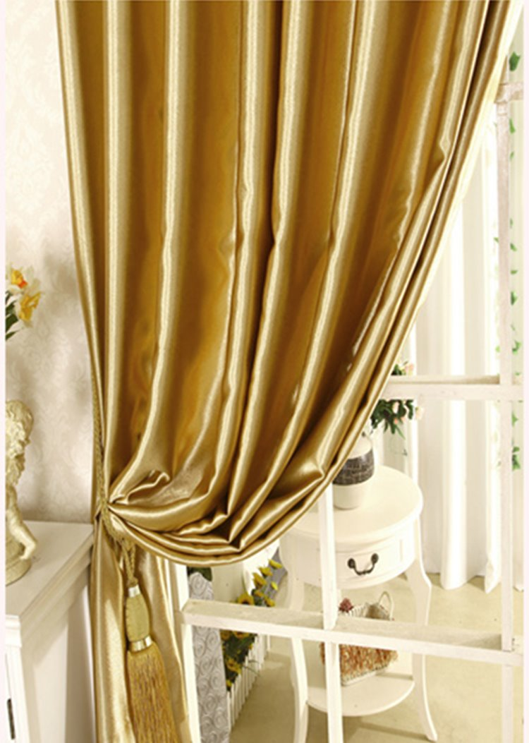 Blackout Luxury Solid Golden Custom Curtain for Living Room and Bedroom