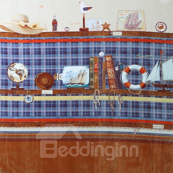 Ship Log Print 4-Piece Cotton Duvet Cover Sets