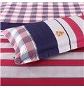 Top Class Red Stripe Pattern 4-Piece Cotton Duvet Cover Sets