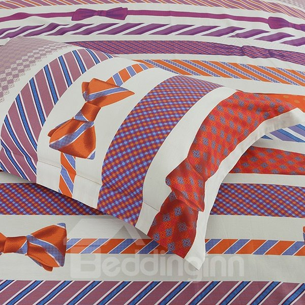 Different Types of Ties Print 4-Piece Cotton Duvet Cover Sets