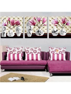 Graceful Flowers and Vase 3-Piece Crystal Film Art Wall Print