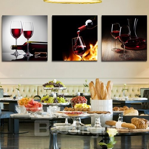 Taste of Red Wine 3-Piece Crystal Film Art Wall Print