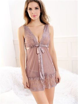 See-through Fabric Lace Bust And Hem Mini Chemise