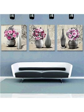 Graceful Pink Roses 3-Piece Crystal Film Art Wall Print