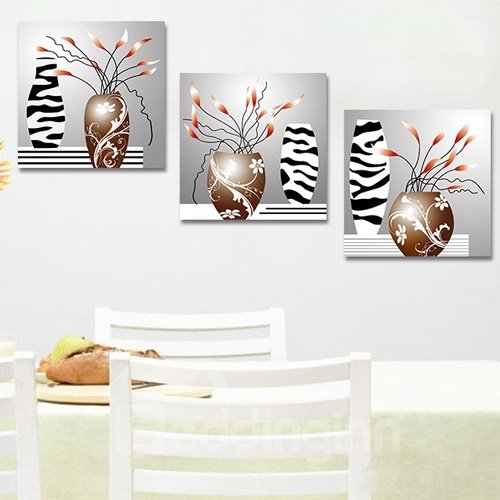 Abstract Flowers 3-Piece Crystal Film Art Wall Print