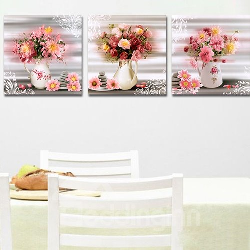 Small Fresh Flowers 3-Piece Crystal Film Art Wall Print