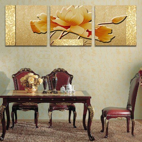 Noble Elegant Lotus 3-Piece Crystal Film Art Wall Print