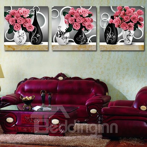 Beautiful Pink Roses 3-Piece Crystal Film Art Wall Print