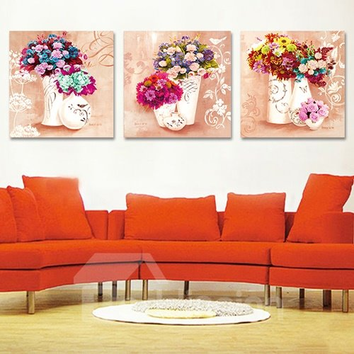 Pretty Wild Flowers 3-Piece Crystal Film Art Wall Print