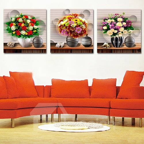 Muti Style Flowers 3-Piece Crystal Film Art Wall Prints