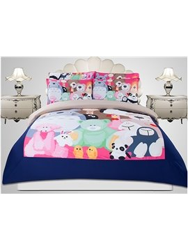 Animal School Print 3-Piece Superfine Fiber Duvet Cover Sets