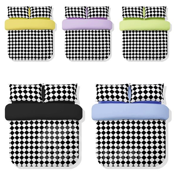 Black and White Grid Pattern 4-Piece Cotton Duvet Cover Sets