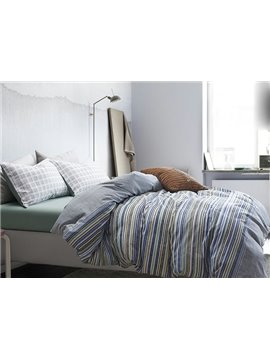 Stripe Pattern 4-Piece Cotton Duvet Cover Sets