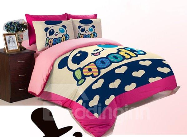 Panda Star Print 3-Piece Coral Fleece Duvet Cover Sets