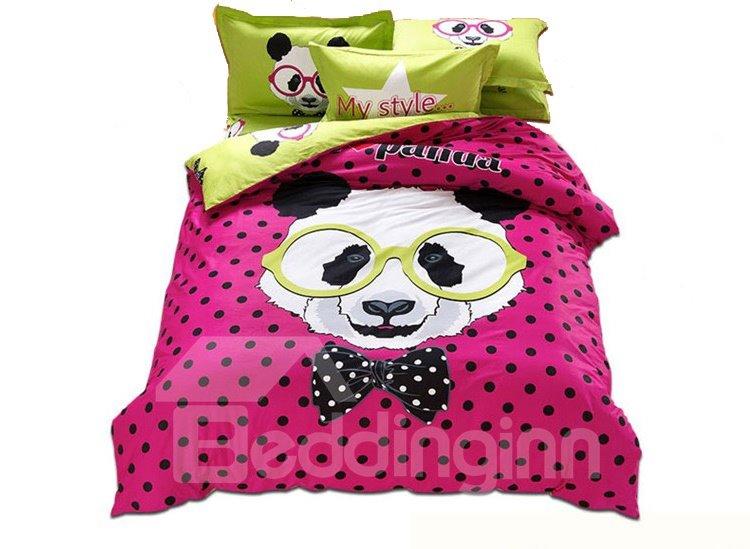 Mr Panda Print 3-Piece 100% Cotton Duvet Cover Sets