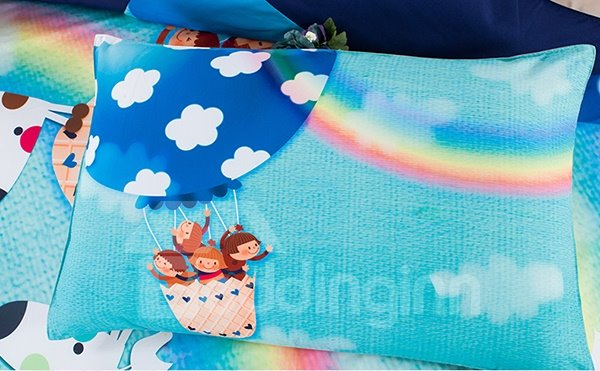 Rainbow and Giraffe Print 3-Piece Duvet Cover Sets