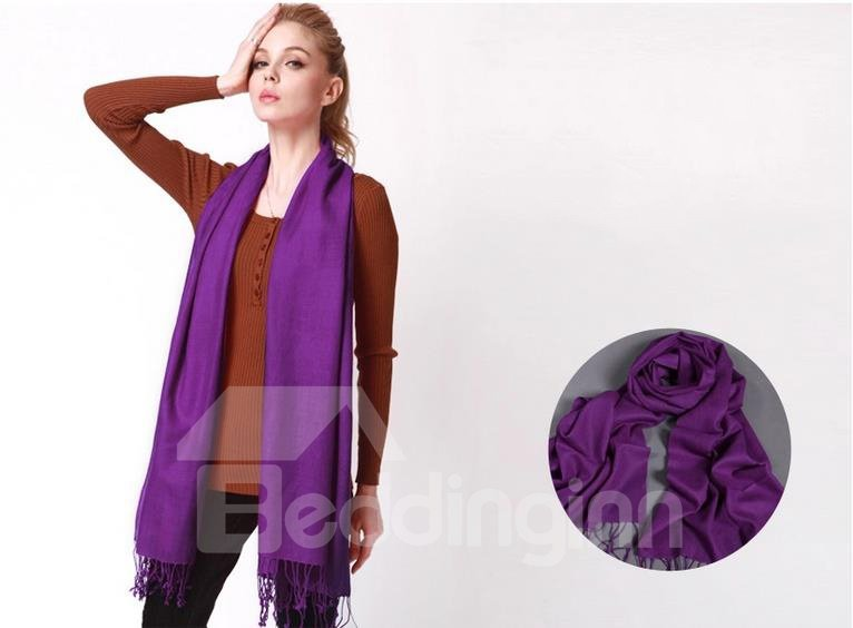 High Quality Tassel Ends 100% Lamb Wool Shawl Long Scarf