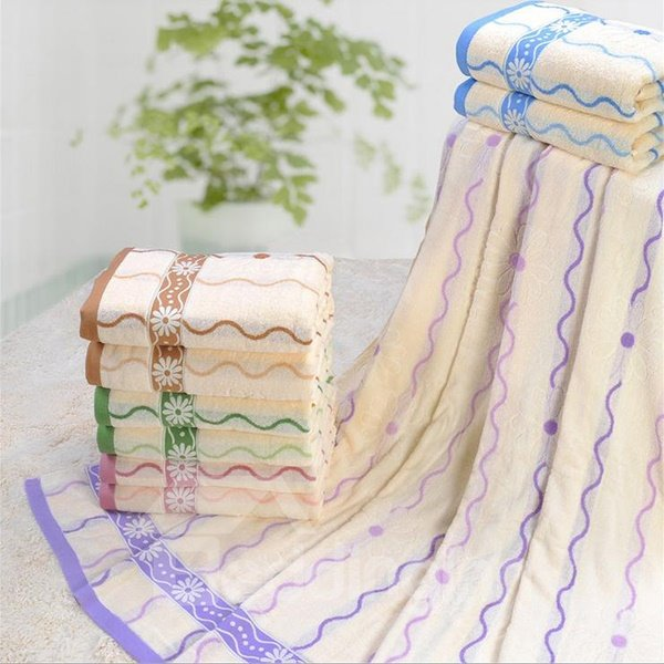 Romantic Wave Jacquard Plush Cotton Bath Towel