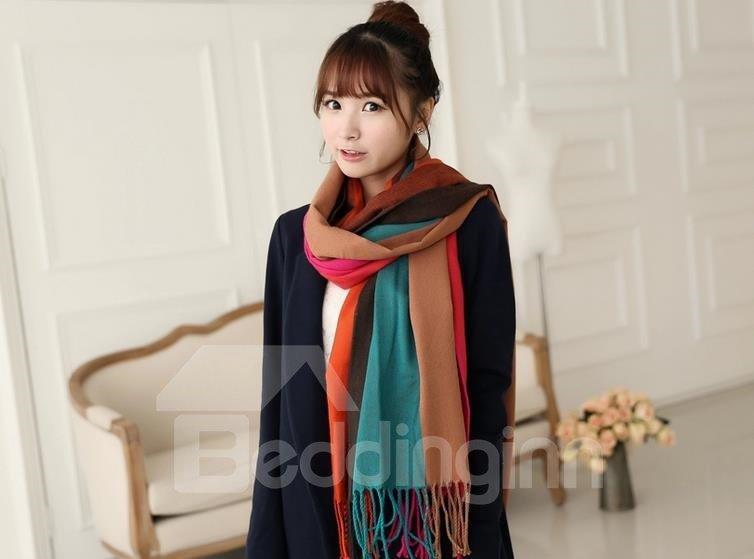 Knited Huge Straps Pattern Tassle Design  Wool Shawl Long Scarf