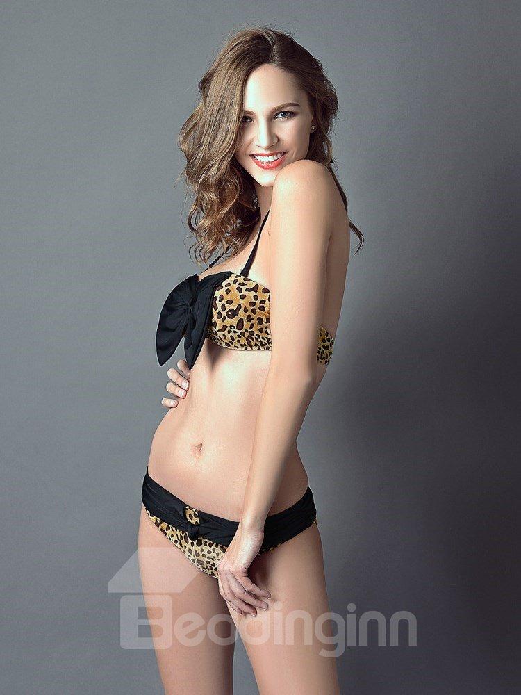 Sexy Leopard Print Big Bow Push Up Bust Bikini