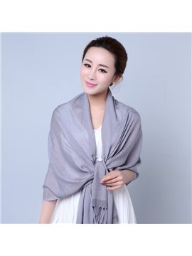 Knited Solid Color Tassle Wool And Linen Shawl Long Scarf