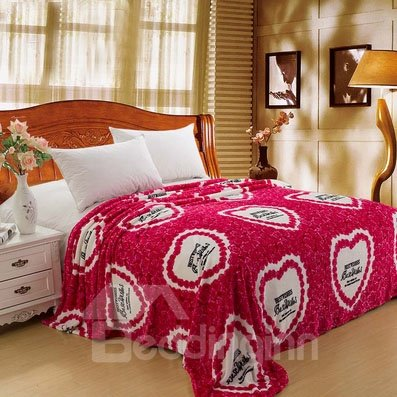 Soft Sweet Heart Shape and Roses Printed Flannel Blanket