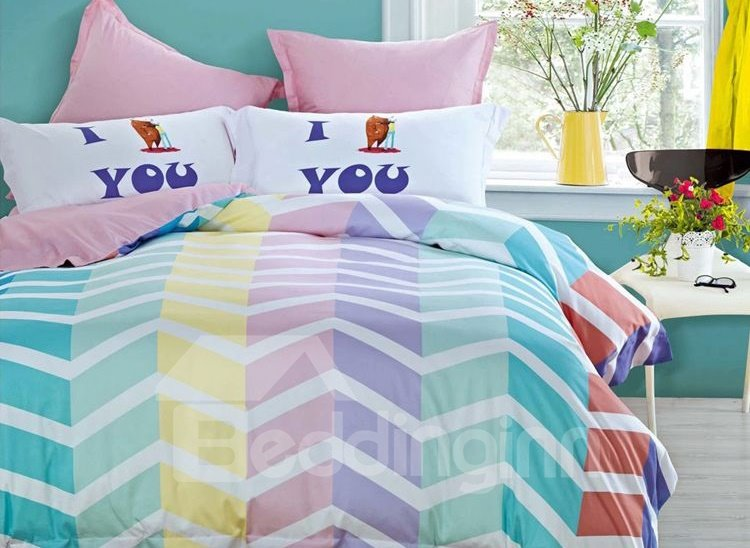 Zig Zag Pattern 4-Piece Cotton Duvet Cover Sets