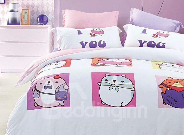 Cute Little Pet Print 4-Piece Cotton Duvet Cover Sets