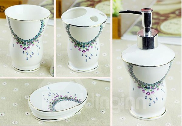 Graceful Fresh Ceramic 5-Pieces Bathroom Accessories