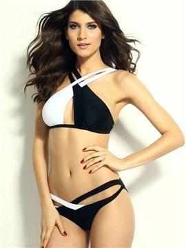 Black And White Straps Cross Push Up Bikini