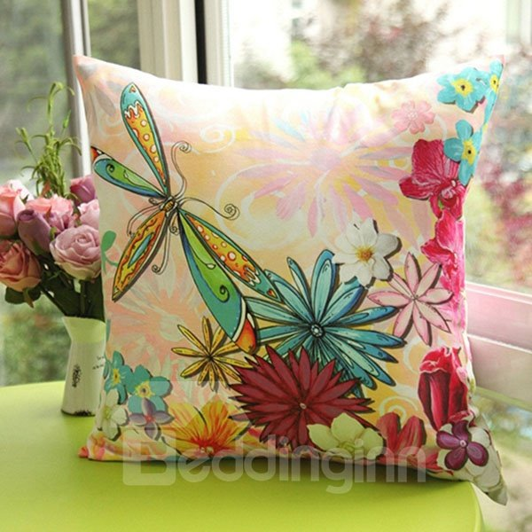 Beautiful Flowers and Dragonfly Printed One Piece Throw Pillow