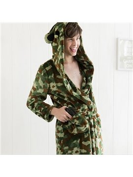 Gorgeous Stylish Camouflage Style Flannel Male Bathrobe