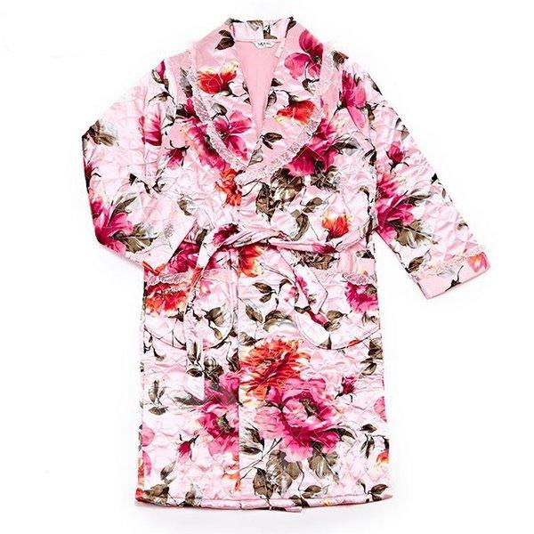 Luxurious Noble Romantic Floral Print Cotton Bathrobe