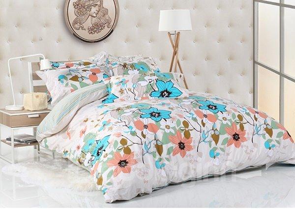 Elegrant Flower Print 4-Piece Cotton Duvet Cover Sets