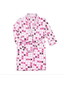 Super Soft Flannel Plaid Joint-color Bathrobe for Female