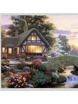 New Style Pretty Countryside House Lamdscape 1-Piece DIY Diamond Sticker