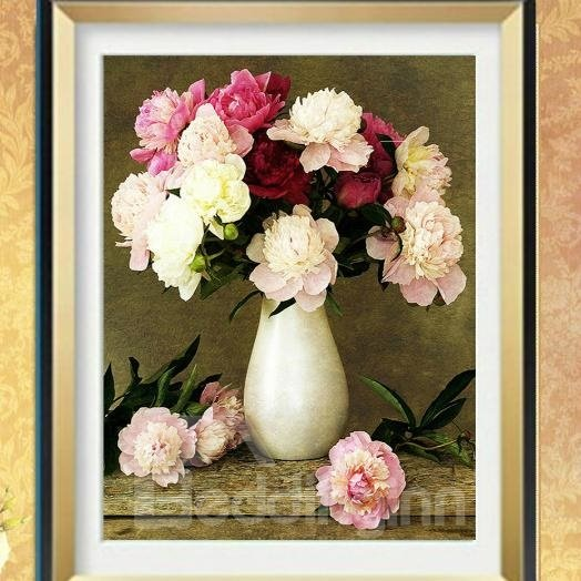 Blossom Pretty Flowers in Vase Oil Painting Style 1-Piece DIY Diamond Sticker
