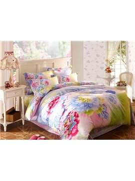 Romantic Flower Print 4-Piece Cotton Duvet Cover Sets