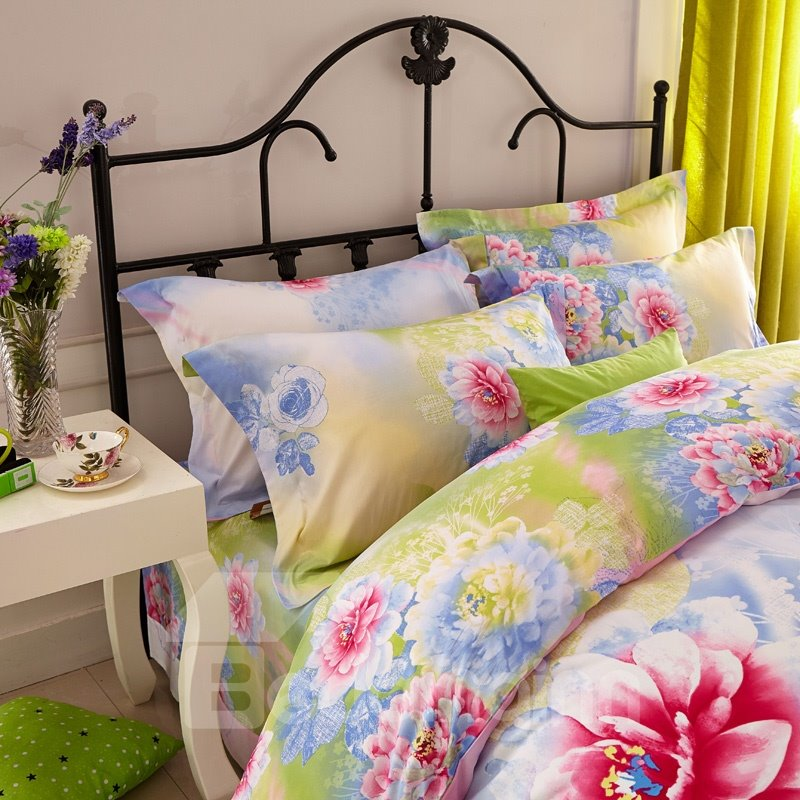 Romantic Flower Print 4-Piece Cotton Duvet Cover Sets