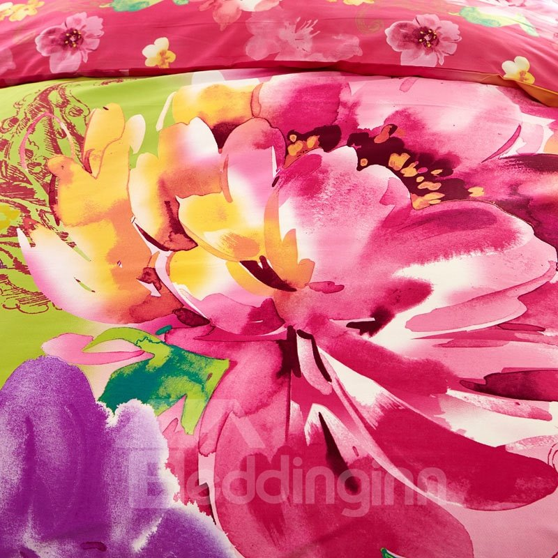 Flower Oil Painting Print 4-Piece Cotton Duvet Cover Sets