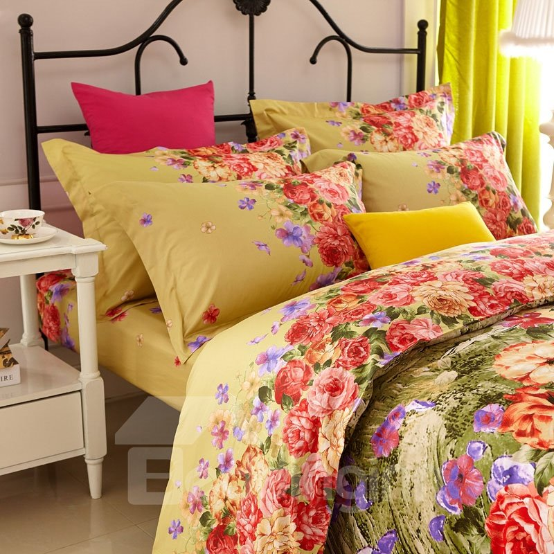 Blooming Flower Print 4-Piece Cotton Duvet Cover Sets