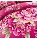 Red Flowers Print 4-Piece Cotton Duvet Cover Sets