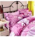 Elegant Flowers and Leaves Print 4-Piece Cotton Duvet Cover Sets