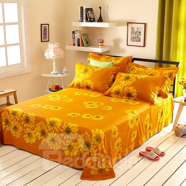 Sunflower and Chain Print 4-Piece Cotton Duvet Cover Sets