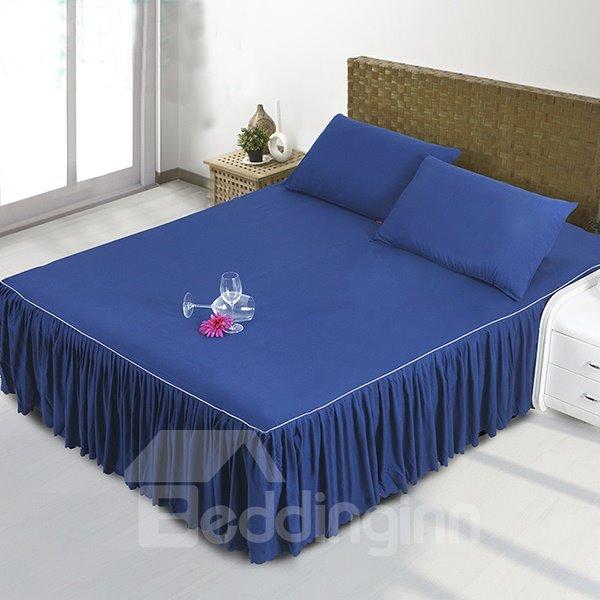 Mysterious Dark Blue Polyester Fiber Bed Skirt